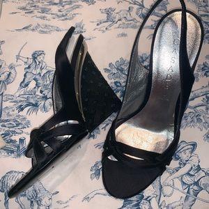 NEW Casadei Embellished Evening Wedge Sandals